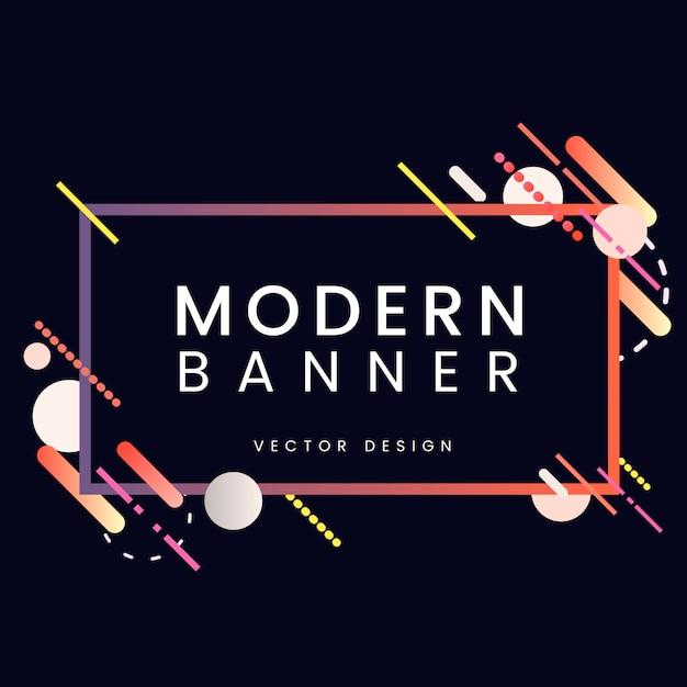 Bannière rectangle moderne en illustration de cadre coloré Vecteur gratuit