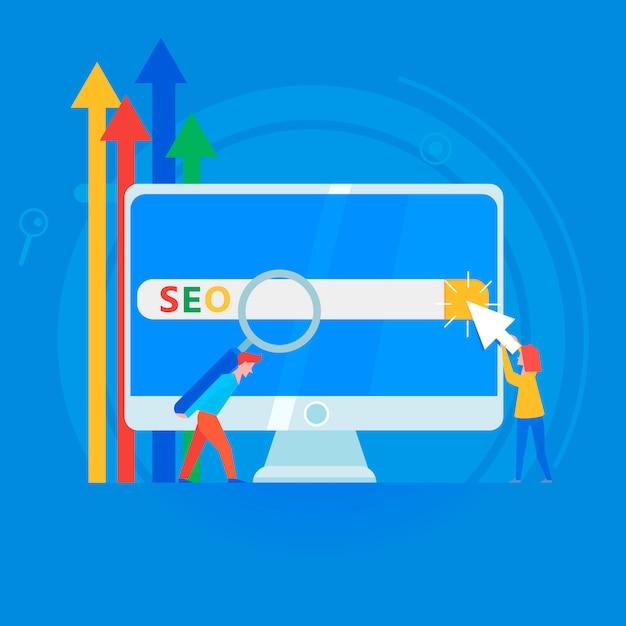 Bannière de référencement. travailler sur le contenu du site et son indexation des moteurs de recherche. Vecteur gratuit
