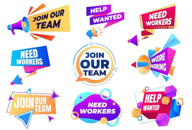 Bannière Rejoignez Notre équipe. Recherchez Des Employés. Vacance, Agitation Pour Le Travail. Vecteur Premium