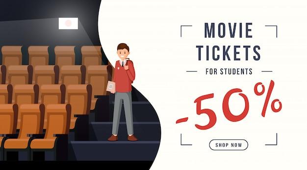 Bannière de remise de billets de cinéma Vecteur Premium