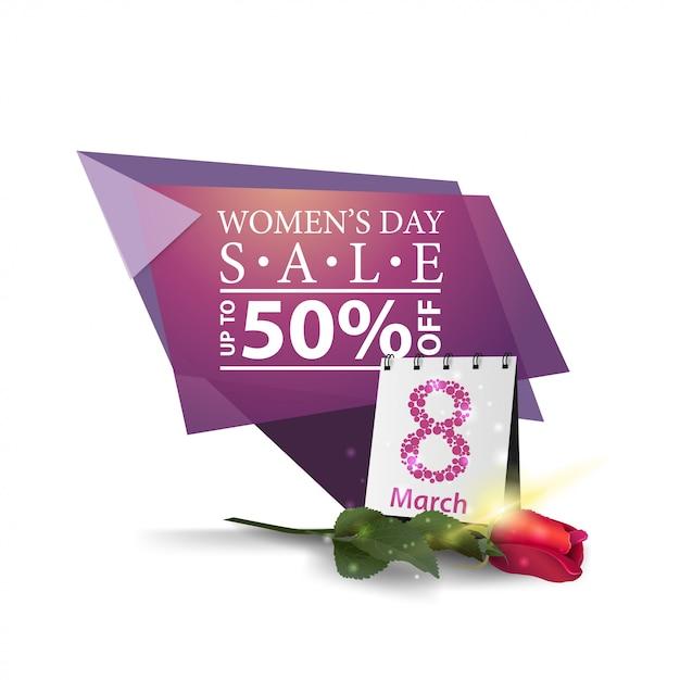 Bannière de remise géométrique moderne à la journée de la femme Vecteur Premium