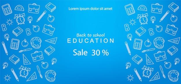 Bannière de la rentrée des classes pour des réductions et des offres en éducation Vecteur Premium