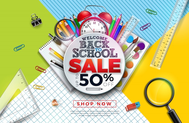 Bannière De Rentrée Scolaire Avec Crayon Coloré, Réveil, Pinceau Et Autres Objets D'apprentissage Vecteur gratuit