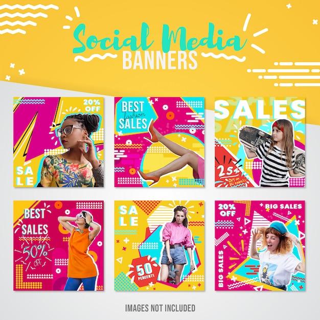 Bannière de réseaux sociaux sur les ventes de mode pour instagram Vecteur Premium