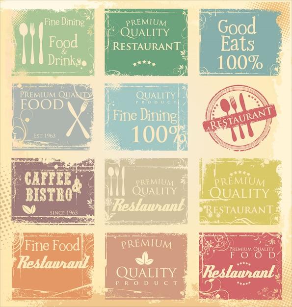 Bannière de restaurant grunge Vecteur Premium