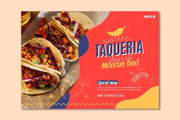 Bannière De Restaurant Mexicain Vecteur Premium