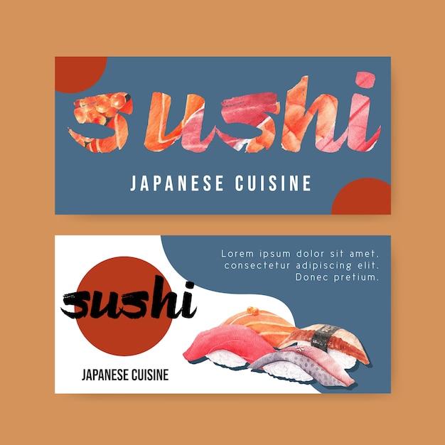Bannière de restaurant de sushi Vecteur gratuit