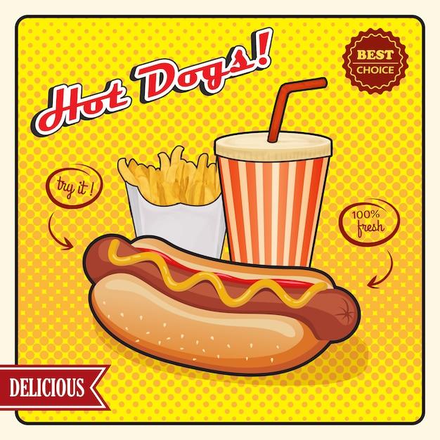 Bannière rétro de hot dogs comic style Vecteur gratuit