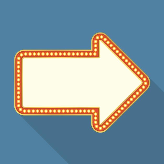 Bannière rétro avec des lumières en forme de flèche, design plat avec ombre portée Vecteur Premium
