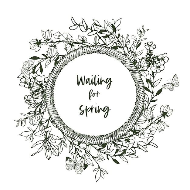 Bannière Ronde Avec Cadre En Corde Et Minuscule Verdure Et Papillons. Illustration Dessinée à La Main. Vecteur Premium