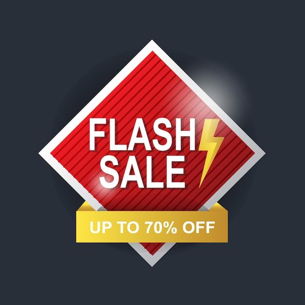 Bannière Rouge Et Jaune Sur Fond Abstrait Vente Flash Vecteur Premium