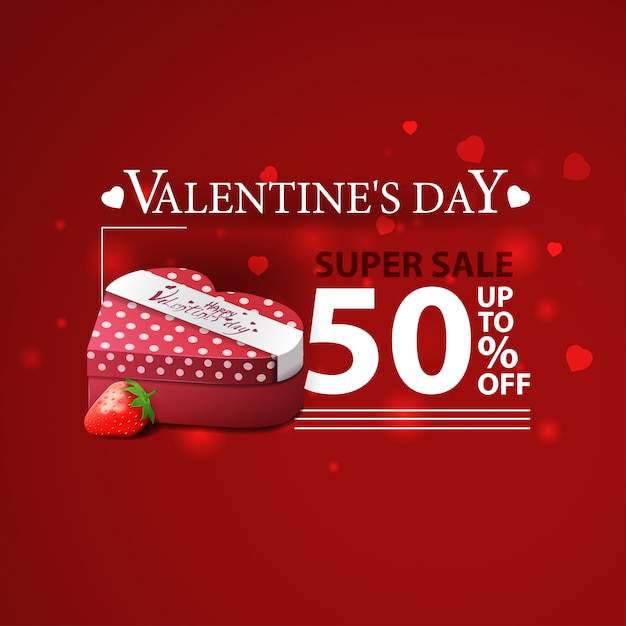 Bannière rouge pour la saint-valentin avec des cadeaux et des fraises Vecteur Premium