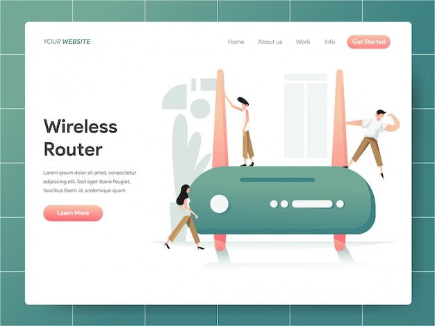 Bannière de routeur sans fil de la page de destination concept Vecteur Premium