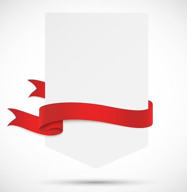 Bannière avec ruban rouge Vecteur Premium