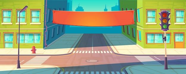 Bannière de rue, affiche. publicité urbaine, maquette de promotion. Vecteur gratuit