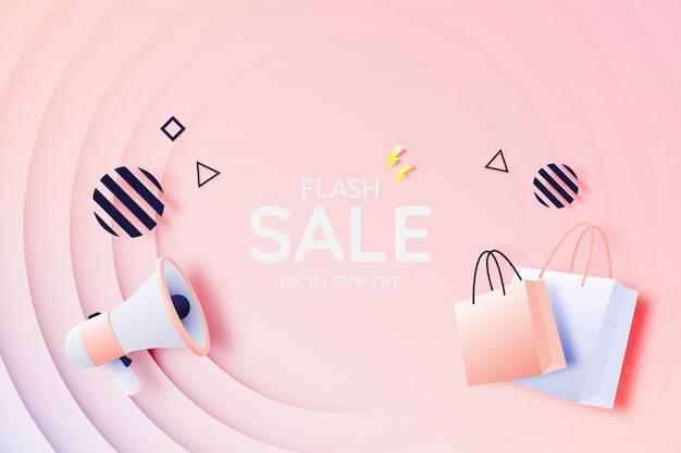 Bannière Et Sac Shopping Pour Mégaphone à Vendre Vecteur Premium
