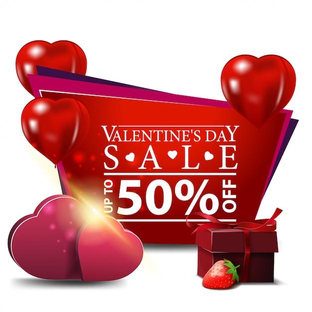 Bannière de la saint-valentin avec des ballons et des cadeaux en forme de coeur Vecteur Premium
