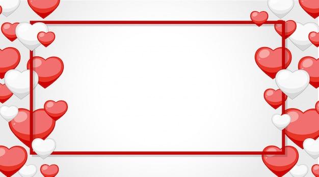Bannière De La Saint-valentin Avec Cadre Coeur Vecteur gratuit