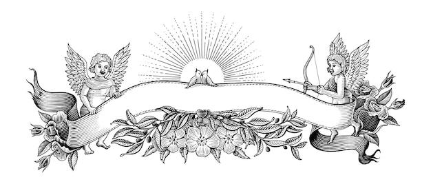 Bannière De La Saint-valentin Et Cadre Illustration Clipart Style Vintage Noir Et Blanc Sur Blanc Vecteur gratuit