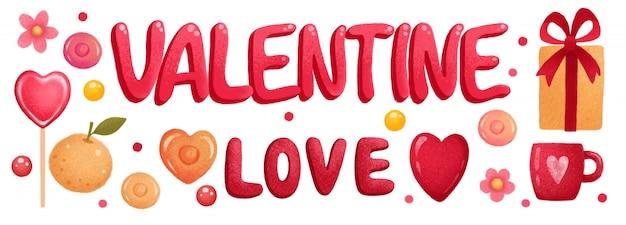 Bannière De La Saint-valentin Avec Coeurs Et Cadeaux Vecteur Premium