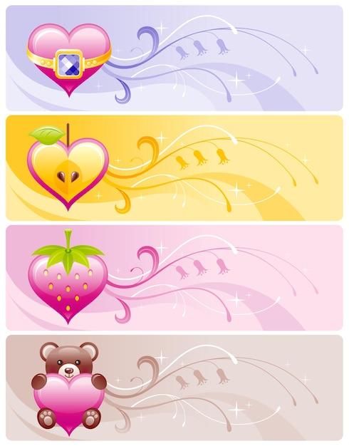 Bannière De La Saint-valentin Sertie De Coeurs De Dessin Animé, Pomme, Fraise, Ours. Vecteur Premium