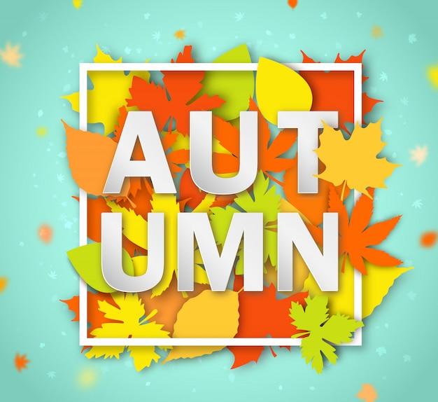 Bannière saisonnière automne. carte de voeux avec mot automne et feuilles multicolores. affiche de design moderne avec un feuillage coloré de couleur jaune, orange et rouge sur fond bleu clair. Vecteur Premium