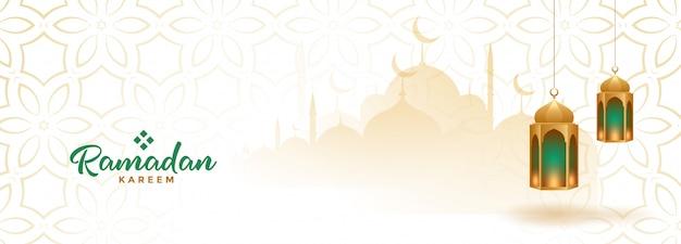 Bannière Saisonnière Musulmane Ramadan Kareem Avec Lanternes Suspendues Vecteur gratuit