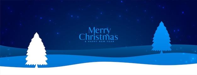 Bannière De Scène De Paysage Joyeux Noël Hiver Nuit Vecteur gratuit