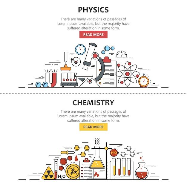 Bannière de la science. chimie et physique. espace de travail de laboratoire et équipement scientifique. Vecteur Premium