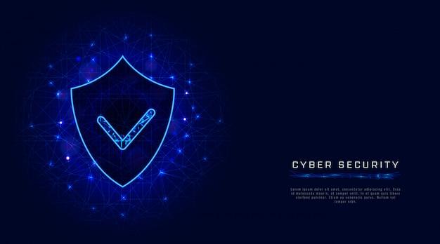 Bannière De Sécurité Cybernétique. Bouclier Avec Une Coche Sur Fond Bleu Abstrait. Protection Des Données Numériques Vecteur Premium