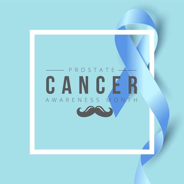 Bannière de sensibilisation au cancer du ruban bleu Vecteur Premium