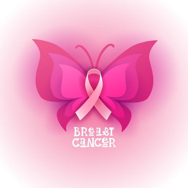 Bannière de sensibilisation au cancer du sein avec un papillon rose Vecteur Premium