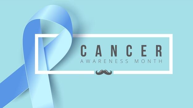Bannière de sensibilisation au cancer vertical avec ruban bleu Vecteur Premium