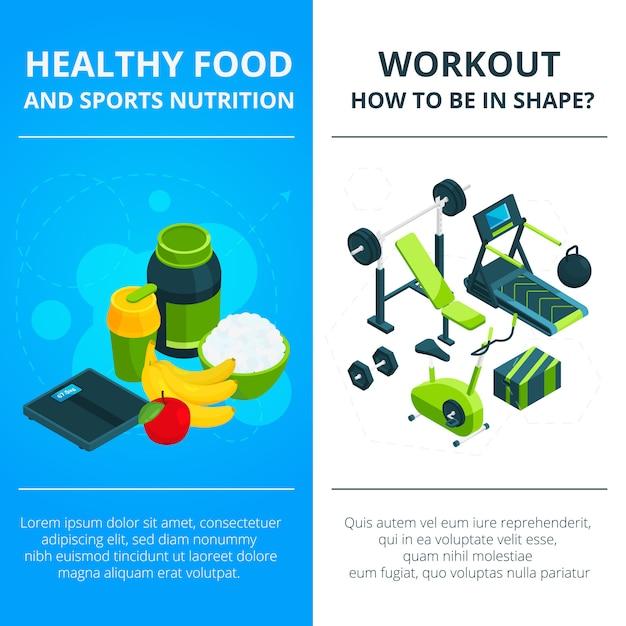 Bannière sertie de matériel de gymnastique et d'aliments sains Vecteur Premium