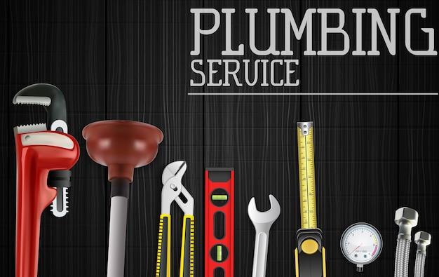 Bannière de service de plomberie avec ensemble d'outils de réparation de plomberie Vecteur Premium