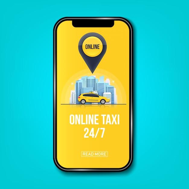 Bannière de service de taxi en ligne pour application, gratte-ciel de ville Vecteur Premium