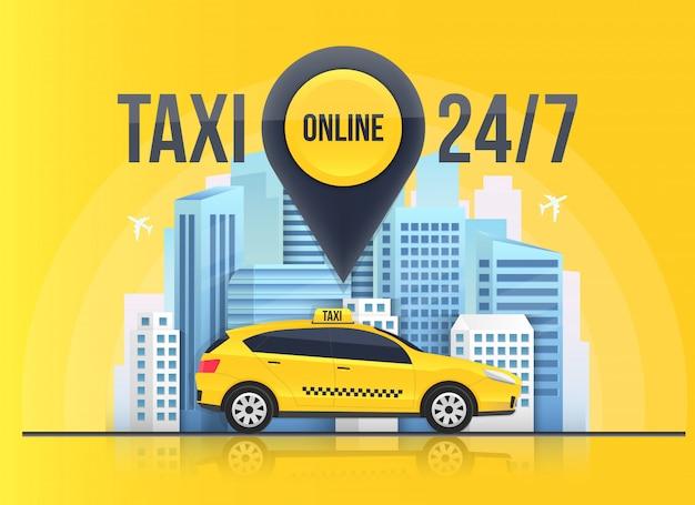 Bannière de service de taxi en ligne Vecteur Premium