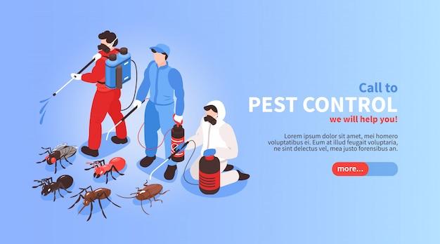 Bannière De Site Web Isométrique De Service De Désinfection D'hygiène De Maison De Lutte Contre Les Parasites Vecteur gratuit