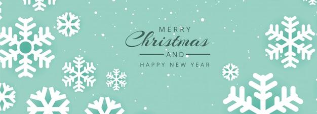 Bannière De Site Web De Noël Avec Des Flocons De Neige De Décorations Vecteur gratuit