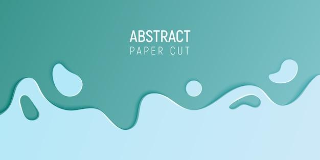 Bannière avec slime abstrait avec du papier bleu cyan couper les vagues Vecteur Premium