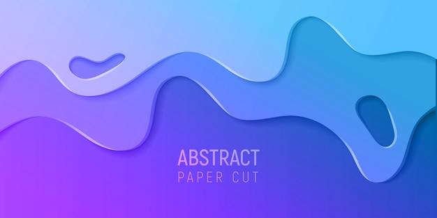 Bannière avec slime abstrait avec du papier violet et bleu, coupe les vagues. illustration vectorielle Vecteur Premium