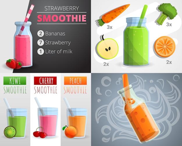 Bannière de smoothie aux fruits, style cartoon Vecteur Premium