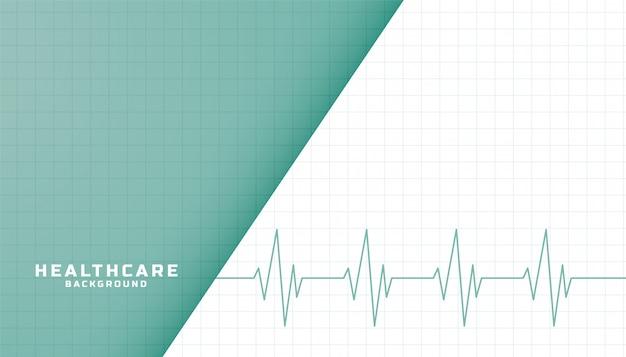 Bannière De Soins De Santé Et Médicaux Avec Ligne De Battement De Coeur Vecteur gratuit