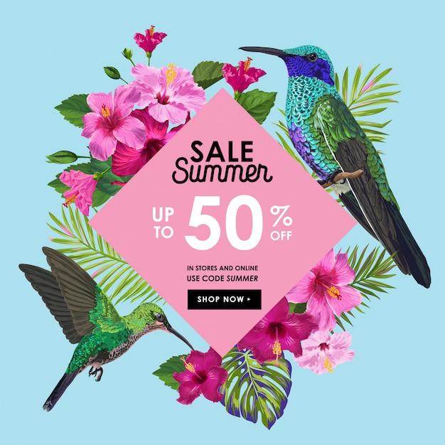 Bannière de soldes d'été avec fleurs et colibris Vecteur Premium