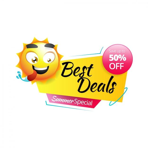 Bannière soleil vente été jaune Vecteur Premium