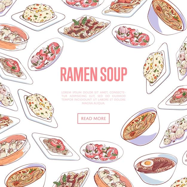 Bannière de soupe de ramen chinois avec des plats asiatiques Vecteur Premium