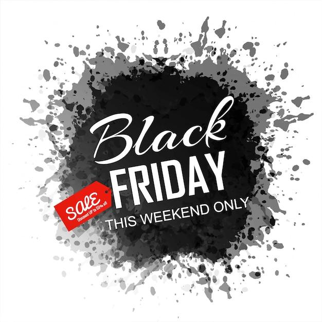 Bannière splash d'encre abstraite vendredi noir Vecteur gratuit