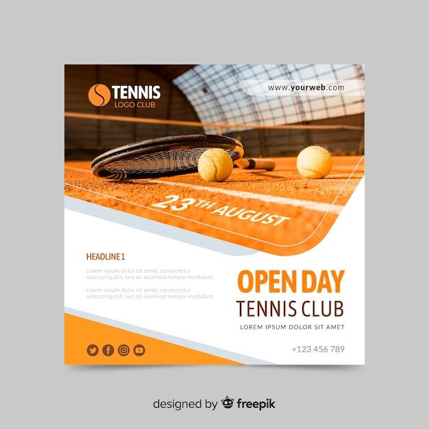 Bannière De Sport Club De Tennis Vecteur gratuit