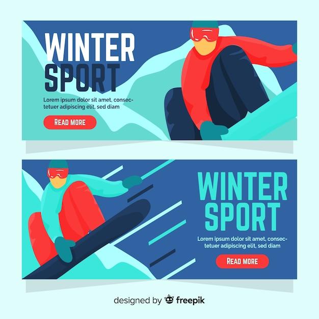 Bannière de sport d'hiver pratiquant de snowboard Vecteur gratuit