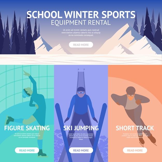 Bannière sport d'hiver Vecteur gratuit